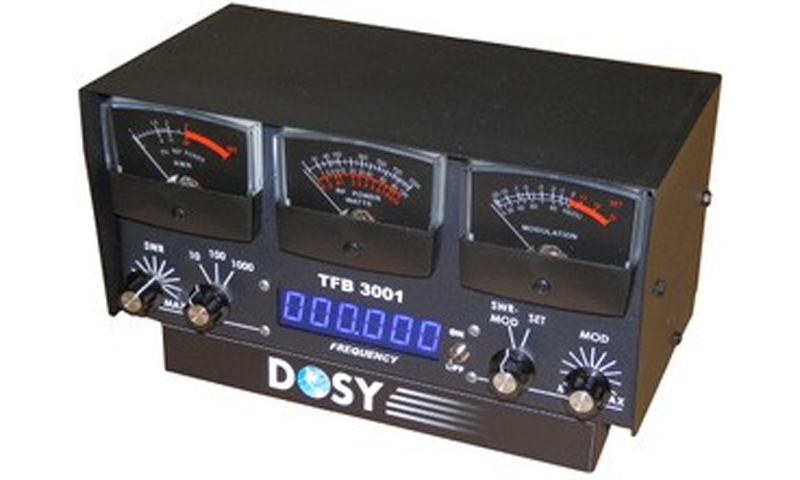 Dosy TFB3001 1,000 Watt SWR/Mod/Watt Meter with Black Meters & Frequency Counter